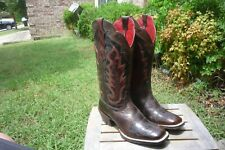 Women's 9 B M Ariat Brown Fancy Square Toe Western Cowboy Boots 10012802