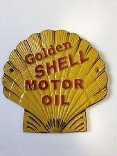 Dorado Concha Motor Oil Forma de Gasolina Letrero Publicidad Hierro Fundido