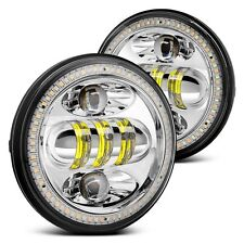 "Lumen 5 3/4"" Round Chrome Projector LED Headlights w Switchback Halo"