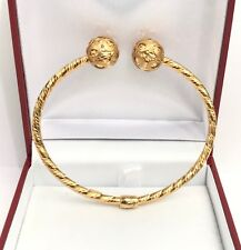 18k Solid Yellow Gold Italian Shiny Two Ball Oval Bangle 2.15 Inches. 7.83 Grams