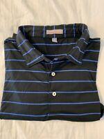 Peter Millar Summer Comfort Men's Golf Polo Shirt Blue Striped - Size XL GUC