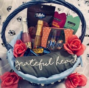 Mother's Day Gift Basket MED Shirt Wine Glass Bubble Bath Ghirardelli Face Masks