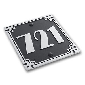 Art Deco Square Style House Number Address Plaque Personalised With Your Text
