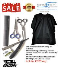 Hair Cutting Thinning Scissors set with Comb / Cut Throat Razor/ Cutting Cape