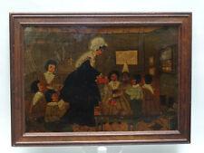 ANTIQUE c.1887 PENNSYLVANIA FOLK ART CHILDREN SCHOOLROOM PAINTING by 10 YEAR OLD