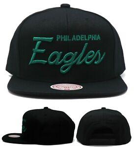 Philadelphia Eagles New Mitchell & Ness Script Black Green Era Snapback Hat Cap