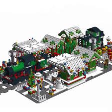 Lego MOC Custom HOLIDAY CHRISTMAS MARKET + TRAIN STATION - INSTRUCTIONS ONLY !