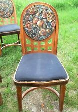 SET OF TEN (10) ART DECO UPHOLSTERED WOODEN HOOP BACK SIDE CHAIRS