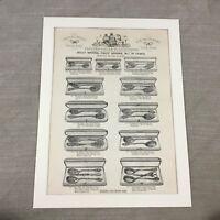 1880 Antico Stampa Argento Jam Cucchiai Vittoriano Advertising 19th Secolo