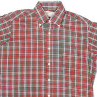 Vintage SEARS Plaid Red Green White Button Front Mens Shirt size Large