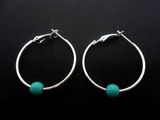"A PAIR OF SILVER COLOUR 30 MM 1"" HOOP & TURQUOISE BEAD EARRINGS. NEW."