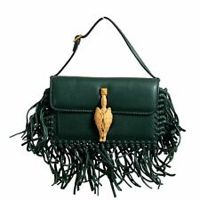 Valentino Garavani Women's 100% Leather Fringe Green Griffin Handbag Clutch Bag