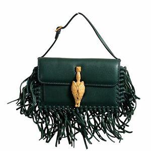 Valentino Garavani Women's 100% Leather Fringe Green Griffin Handbag Clutch Bag