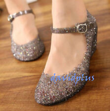 Womens Sandals High Heels shoes Girls Wedge Glass Jelly Shoes Slipper Summer