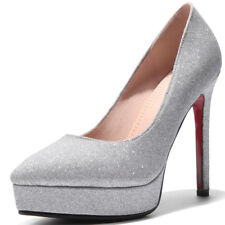Women Glitter High Heels Pointed Toe Platform Nightclub Pumps Shoes Size 33-43