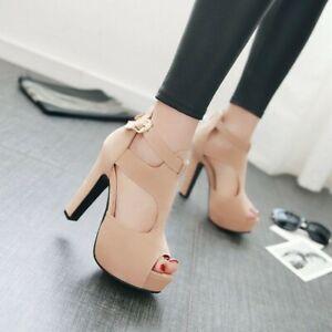 Women's T-Strap Platform Pumps Peep Toe Buckle Sandals Ankle Strap High Heels