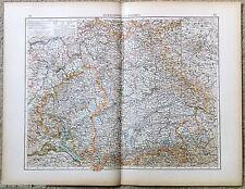 Large Original 1898 Map of Germany - Wurtemberg & Bavaria by Velhagen & Klasing