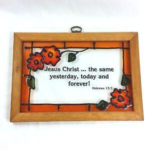 Stained Glass Orange Floral Bible Verse Wood Framed Suncatcher Hanging VTG