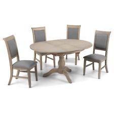 Welford Oak Furniture Grey Round Extending Dining Table with Four Chairs