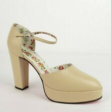 Gucci Women's Beige Leather Platform Sandal w/Crystal Buckle 41 497482 9715
