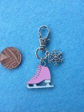 Ice Skating Skate Shoe Keyring Keychain Pink Enamel Bag Charm Birthday Gift #154