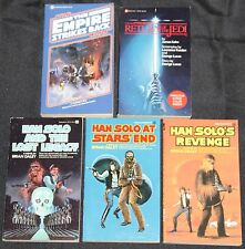 1980s Star Wars 5pc Paperback Book Lot Unread Empire Return Han Solo TV Movie