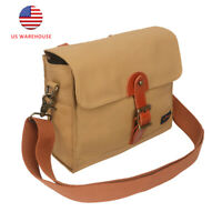Tourbon Vintage Bike Bag Canvas&Leather Front Handlebar Bag Baby Care Pack Brown