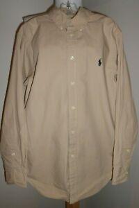 RALPH LAUREN Kids Boys Khaki Oxford Shirt - Sz 10 / 12 Medium