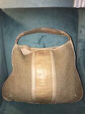 Talbots Tan Croc Embossed Leather Straw Hobo Satchel Shoulder Bag