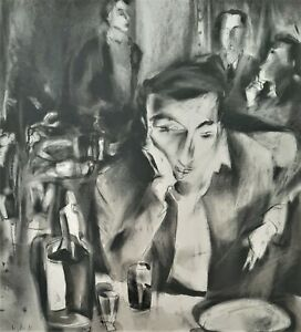 ILANA SAGEE (1949-), Charcoal and China Ink on Paper, At The Bar, Signed