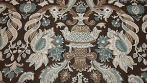 BALLARD DESIGNS DAFNE CHOCOLATE BROWN FLORAL VASE 100% LINEN FABRIC BY THE YARD