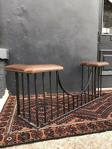 Late 20th Century Iron Club Fender Tan Leatherette Seat Country House Antique