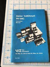 1976 Viz Senior Voltohmyst Wv 98c Instruction Manual