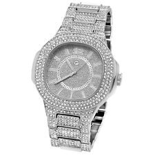 Men Hip Hop Iced out Silver Tone Techno Pave Bling Simulated Diamond Rapper 3