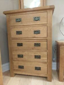 CHUNKY OAK EXTRA LARGE 5 DRAWER CHEST - TALL BEDROOM DRAWERS - SOLID WOOD - 80CM