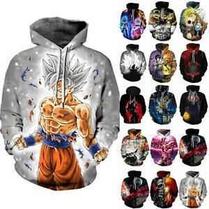 Dragon Ball Z DBZ Goku 3D Super Saiyan Print Hooded Sweatshirt Hoodie Tops Coat