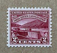 US Stamps, Scott #681 2c 1929 Ohio River Canalization XF/Superb M/NH. Beautiful!