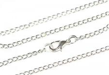 SILVER PLATED CURB LINK NECKLACE CHAIN - 18inch