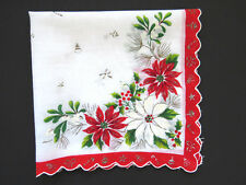 Vintage Christmas Handkerchief Red White Poinsettias Mistletoe Candy Canes Bells