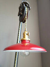 "Red Porcelain Enamel Shade: 10"" Rounded Metal, 2-1/4"" fitter Industrial Pendants"