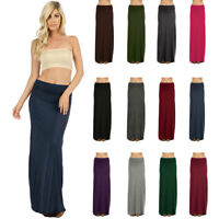 Womens Long Draped Relaxed Jersey Knit Solid Maxi Skirt