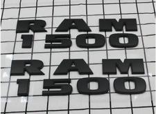 2PCS NEW Matte Black Dodge RAM 1500 Emblem Badge Nameplate 3D Decal