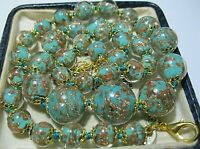 Aquamarine Venetian Murano Glass Gold Foil Bead Graduated Vintage Style NECKLACE