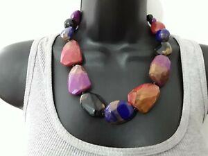 44cm Random Multi Coloured Plastic Bead Necklace ref:D288