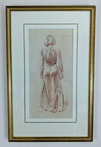 JOHN CHARLES MOODY R.I (1884-1962) Red Chalk Drawing GIRL IN EVENING DRESS c1935