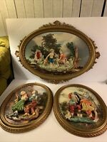 Vintage Empire 3D Italian Resin figurines wall Hanging art framed 3 Pieces