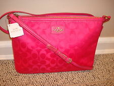 NWT COACH $165 Signature Nylon Crossbody Shoulder File Bag Pink # 35454