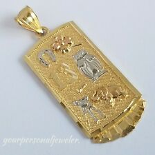 "Solid 14k Yellow Gold 13 owl horseshoes good luck Pendant Charm 1.6"" long 2 side"