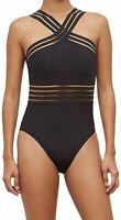 Kenneth Cole Womens Black Medium M Mesh Inset Y-Neck One Piece Swimsuit $107 126