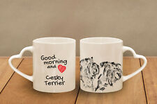 "Cesky Terrier - ceramic cup, mug ""Good morning and love, heart"", Usa"